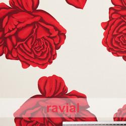 NATASHA. Crespón con mucha caída, perfecta para trajes de flamenca. Estampado de flores grandes rosas rojas.
