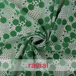 NATASHA. Crespón con mucha caída, perfecta para trajes de flamenca. Estampado de lunares irregulares.