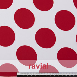 NATASHA. Drape crêpe fabric for flamenco dresses, polka dot print 5,50 cm.