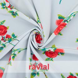 NATASHA. Tela de crespón con mucha caída, para trajes de flamenca. Estampado de flores.