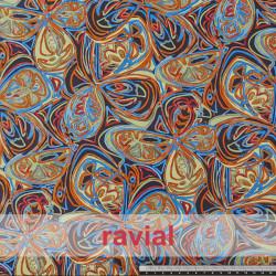 BASICO RUA. Satinet fabric. Abstract flowers print.
