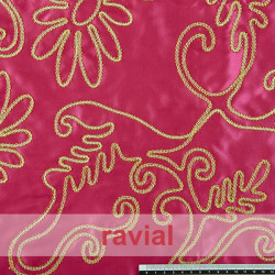 FANTASIA ZARSKY. Satin fabric embroidered with golden ribbon.