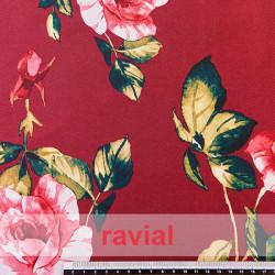 IRAI. Rigid satin fabric. Floral print.