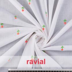 POPPY 353. Tissu batiste en coton avec fleurs brodés.