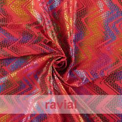 FANTASIA RAINBOW. Maille élastique.  Imprimé zigzag.