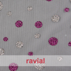 TULES BRIGHT. Tulle fabric with glitter ornaments.