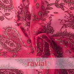 TUL ZORZAL. Tulle fabric with glitter print.