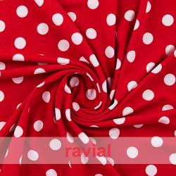 CONTE. Tejido de punto estampado. Ideal para faldas de ensayo y trajes de flamenca cómodos.lunares.