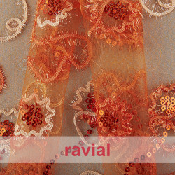 FANTASIA FAGUS. Tulle fabric with floral ornaments. Perfect for child costumes like a princess dress.