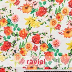 GARDEN. Drape crêpe fabric. Floral print.