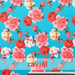 GUAJIRA. Soft techno-peach bi-elastic fabric, with floral print.