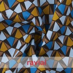 POPPY 213. Tissu en coton imprimé de figures géométriques élastiques.