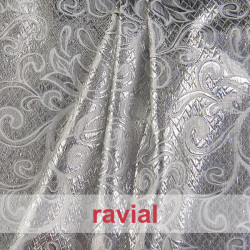 EPOCA METALIC. Polyester fabric with metal thread ornaments.