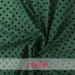 DRAVA FLOCADO. Thin chiffon fabric with flocked polka dot 0,60 mm.
