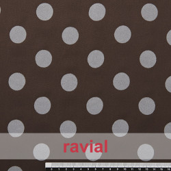MADISON FLOSAR D/7. Stretch satin fabric with flocked polka dots. Ideal for fitted flamenco dresses.