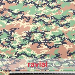 DANZA ZUMBA. Tissu en maille avec motif de camouflage (militaire). OEKO-TEX Standard 100