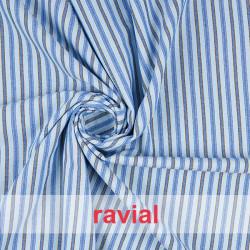 SALLENT. Tejido de rayas horizontales, combinadas en tres colores.