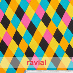 BASICO STRECH  EST.. Polyester fabric. Rhombus print.