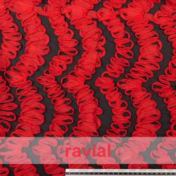 TUJENA. Fabric with ribbon ornaments.