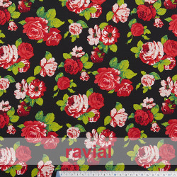 NATASHA. Dape crêpe fabric for flamenco dresses, floral print.