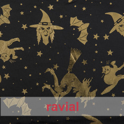 FANTASIA BOO. Satinette fabric with lurex ornaments. Witches and pumpkins print.