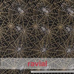 FANTASIA SKIDER. Velvet fabric with glitter ornaments. Spider web print.