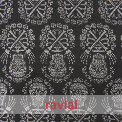 FANTASIA SATWEEN. Satin fabric with skull glitter ornaments.