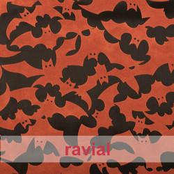 FANTASIA BATWEEN. Satin fabric with velvet ornaments.