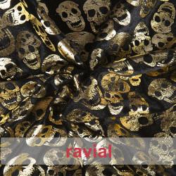 FANTASIA AWAS. Velvet fabric with lamé skulls ornaments.