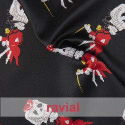 RASO ESTP-ESQUELETO. Satin fabric. Skeleton with suit print.