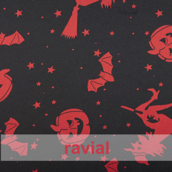 RASO ESTP-BRUJA. Satin fabric. Witches and pumpkins print.