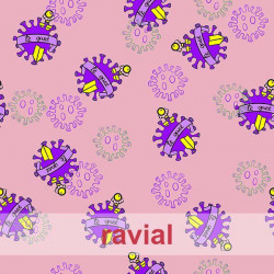 POPELIN MICRO FIBRA ESTP. Poplin fabric with antibacterial and waterproof treatment, permanent in multiple washes. Virus print.