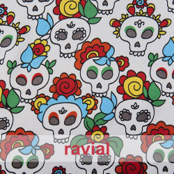 RASO ESTP-MINI CALAVERA. Satin fabric. Skull print.