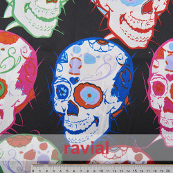 RASO EST-CALAVERA MULTI. Satin fabric. Skull print.