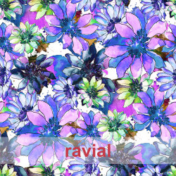 OLALLA. Drape fabric with big floral pattern.