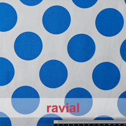 AINOA. Stretch satin fabric, perfect for fitted flamenco dress. Polka dot 5,50 cm in diameter print.
